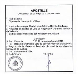 apostilla Valencia